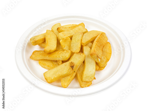 Potato steak fries on paper plate