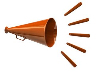Orange megaphone icon isolated on white background