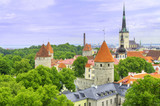 Aerial view of the old medieval city of Tallinn, Estonia