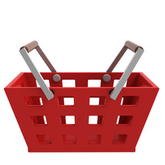 red shopping basket side view isolated