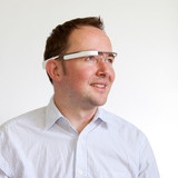 Man using Google Glass