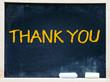 Thank You handwritten with white chalk on a blackboard.