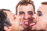Bizarre men sticking out tongue