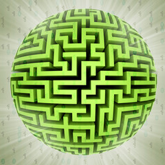 green maze sphere planet with binary code background