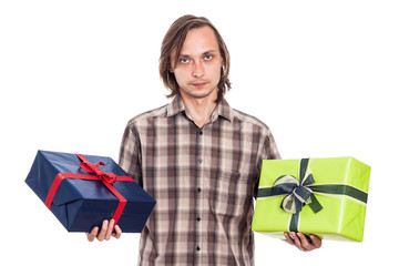 Serious man with two gifts