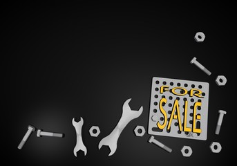 3d render of a mechanical sale icon on black technic background