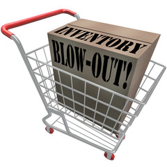Inventory Blowout Words Cardboard Box Shopping Cart Blow-Out