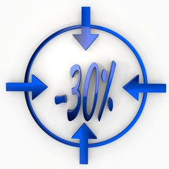 Illustration of a glossy discount icon in focus point