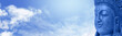 Buddha on blue sky website banner head