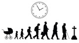 Time passing man from birth till death
