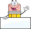 Happy Pencil Character Waving For Greeting Over Blank Sign