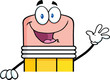 Pencil Cartoon Character Waving For Greeting Over Blank Sign