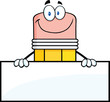 Smiling Pencil Cartoon Character Over Blank Sign