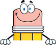 Smiling Pencil Character Over Blank Sign