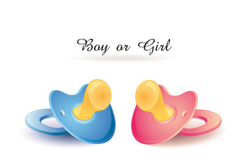 """Boy or Girl"" Karte mit Schnuller"