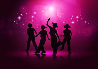 Boys and girls dancing