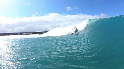 Surfer Doing Turn On Blue Wave
