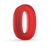 Number zero - red isolated with clipping path