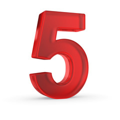Number five- red isolated with clipping path