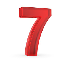 Number seven- red isolated with clipping path