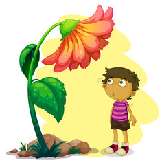 A little boy looking at the giant flower
