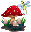 A dragonfly flying beside the mushrooms