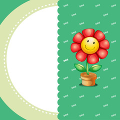 A stationery with a smiling flower