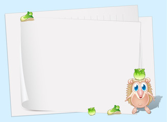Empty papers with a small molehog and cabbages