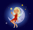 A fairy holding a magic wand sitting at the crescent moon
