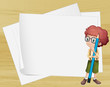A boy with a long pencil standing beside the empty papers