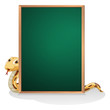 A snake at the back of an empty board