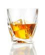 Glasses of whiskey, isolated on white