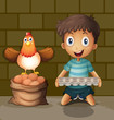 A chicken laying eggs beside the young boy with an egg tray