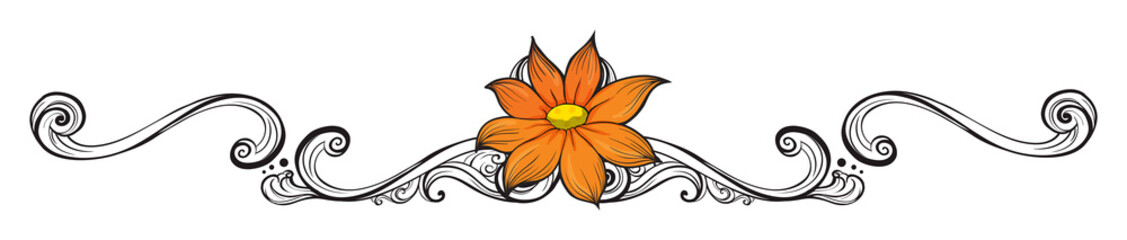 An orange flower border