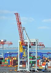 Port cargo crane and container over blue sky background