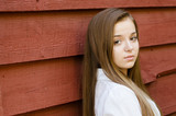 Outdoor portrait of pretty, young teen girl outdoors