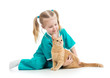 Child girl playing doctor with cat isolated