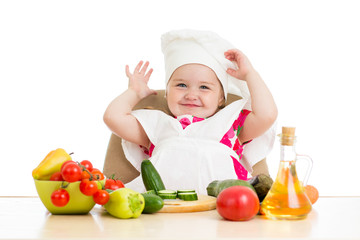 Chef child with healthy food