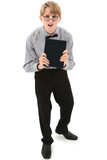 Funny nerd teenage boy with electronic e-book reader. Clipping p
