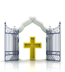open baroque gate with golden cross