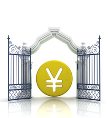 open gate with yen or yuan coin