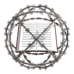 isolated education book in barbed wire sphere