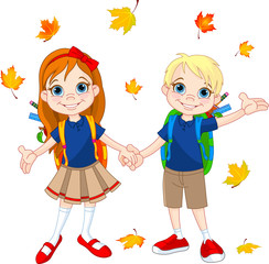 Boy and girl ready to school