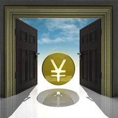 yen or yuan coin in gold framed doorway with sky
