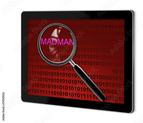 close up of magnifying glass on madman