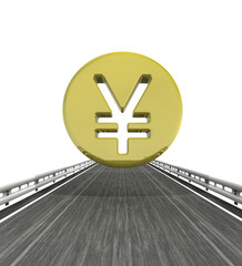 isolated highway with yen or yuan coin