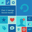 Flat UI design trend social media set, vector Eps10 image.
