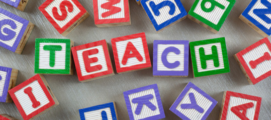Wooden letter blocks forming the word TEACH