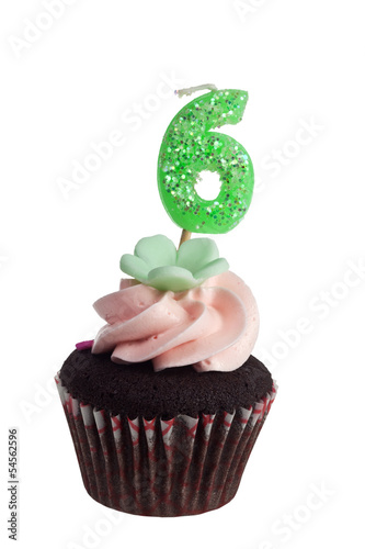 Mini cupcake with birthday candle for six year old