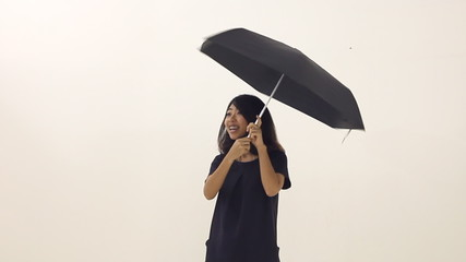 Happy woman with an umbrella against white background